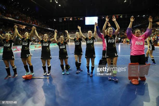 Team of Germany celebrate after the Women Gold Medal Indoor Hockey World Cup Berlin Final Day on February 11 2018 in Berlin Germany