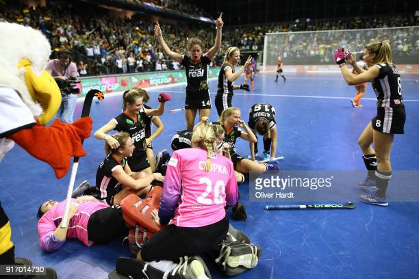 Team of Germany celebrate after the Women Gold Medal Indoor Hockey World Cup Berlin Final Day match between Germany and Netherlands on February 11...