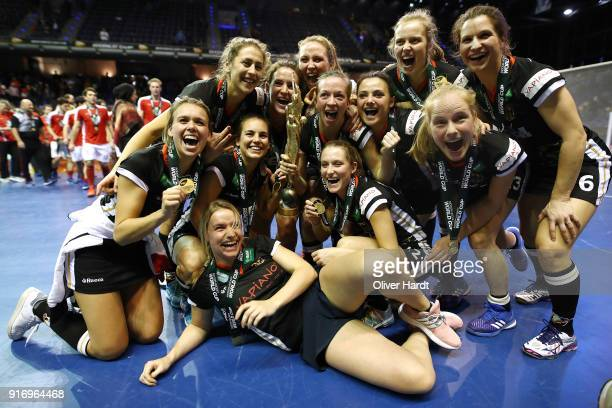 Team of Germany celebrate with the trophy after the Women Gold Medal Indoor Hockey World Cup Berlin Final Day match between Germany and Netherlands...
