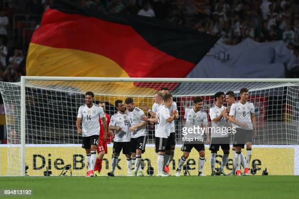 Team of Germany celebrates after a goal to make it 50 during the FIFA 2018 World Cup Qualifier between Germany and San Marino on June 10 2017 in...