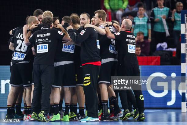 Team of Germany celebrates after the Men's Handball European Championship Group C match between Slovenia and Germany at Arena Zagreb on January 15...