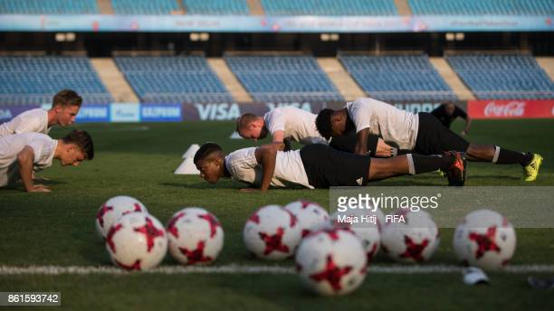 Team of Germany during a training ahead of the FIFA U17 World Cup India 2017 tournament at on October 15 2017 at Jawaharlal Nehru Stadium in New...