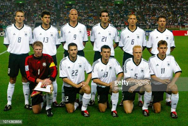 Team of Germany in line up during the FIFA World Cup match between Cameroon and Germany on June 11 2002 in Ecopa de Shizuoka stadium Japan