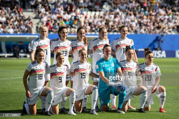 Team of Germany line up prior to the 2019 FIFA Women's World Cup France Round Of 16 match between Germany and Nigeria at Stade des Alpes on June 22,...
