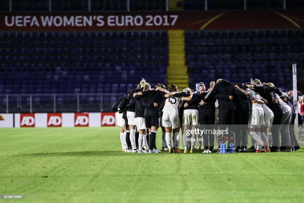 Team of Germany makes a circle after the Group B match between Germany and Sweden during the UEFA Women's Euro 2017 at Rat Verlegh Stadion on July 17, 2017 in Breda, Netherlands.