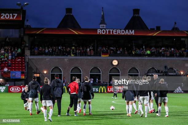 Team of Germany of warms up prior to the UEFA Women's Euro 2017 Quarter Final match between Germany and Denmark at Sparta Stadion on July 29 2017 in...