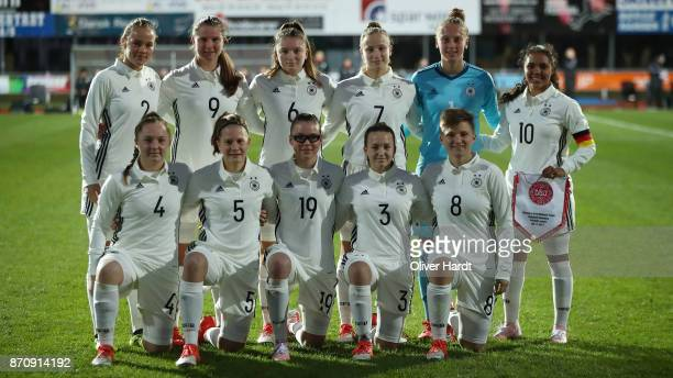 Team of Germany pose for a team photograph prior to the U16 Girls international friendly match betwwen Denmark and Germany at the Skive Stadion on...
