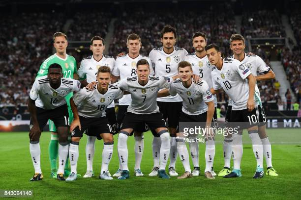 Team of Germany poses prior the FIFA 2018 World Cup Qualifier between Germany and Norway at MercedesBenz Arena on September 4 2017 in Stuttgart...