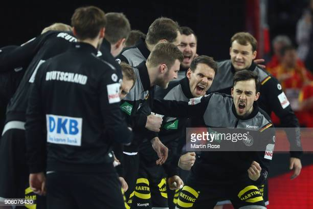 Team of Germany prior the Men's Handball European Championship Group C match between Germany and FYR Macedonia at Arena Zagreb on January 17 2018 in...