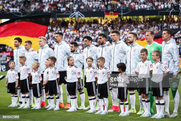 Team of Germany stands prior to the FIFA 2018 World Cup Qualifier between Germany and San Marino on June 10 2017 in Nuremberg Bavaria
