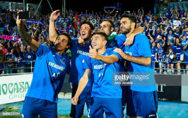 Team of Getafe CF celebrates they won La Liga 2 play off during La Liga 2 play off round between Getafe and CD Tenerife at Coliseum Alfonso Perez...