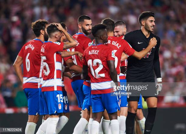 Team of Granada CF celebrates after wining the match during the Liga match between Granada CF and FC Barcelona at Estadio Nuevo Los Carmenes on...
