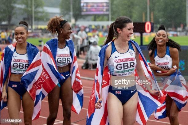 Team of Great Britain and Northern Ireland celebrates after winning of 4x100m Women Relay on July 21, 2019 in Boras, Sweden.