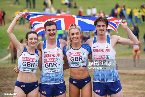 Team of Great Britain reacts after the after finishing in the Senior Relay Mixed race at the SPAR European Cross Country Championships at the Parque...