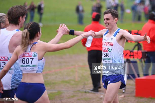 Team of Great Britain reacts after the finishing in the Senior Relay Mixed race at the SPAR European Cross Country Championships at the Parque da...
