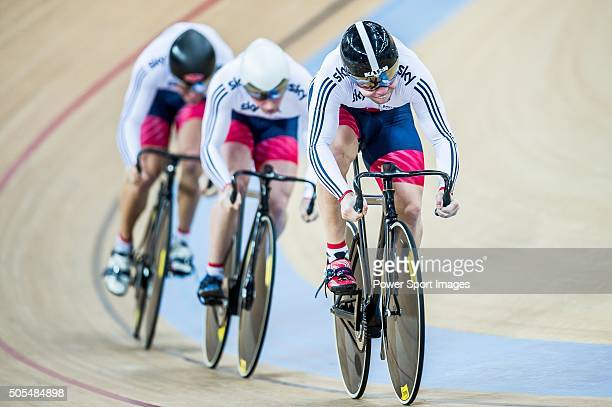 Team of Great Britain with Callum Skinner Philip Hindes and Jason Obe Kenny competes during the Men«s Sprint Final round heat as part of the UCI...