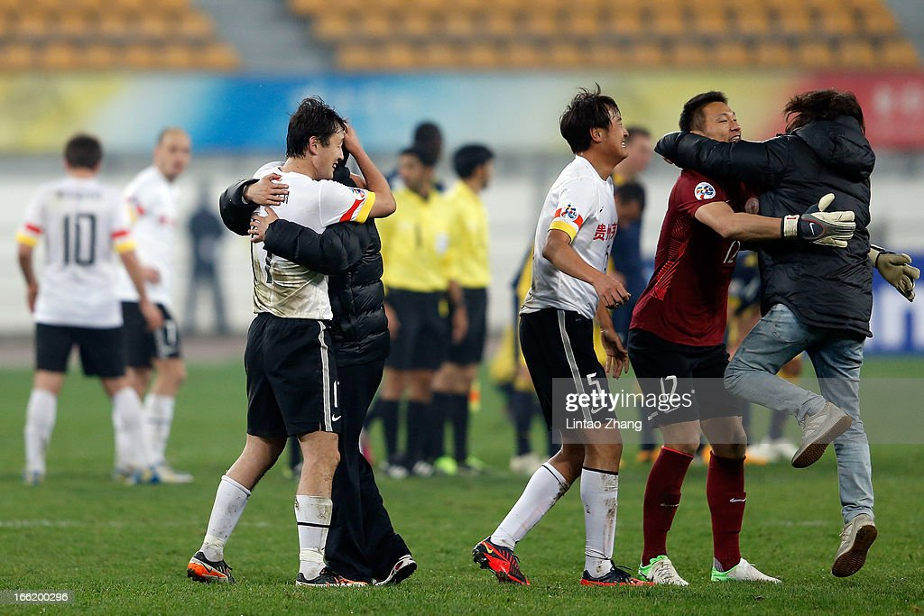 Team of Guizhou Renhe celebrates scoring their second goal during the AFC Champions League match between Guizhou Renhe and Central Coast Mariners at Olympic Sports Center on April 9, 2013 in Guiyang, China.
