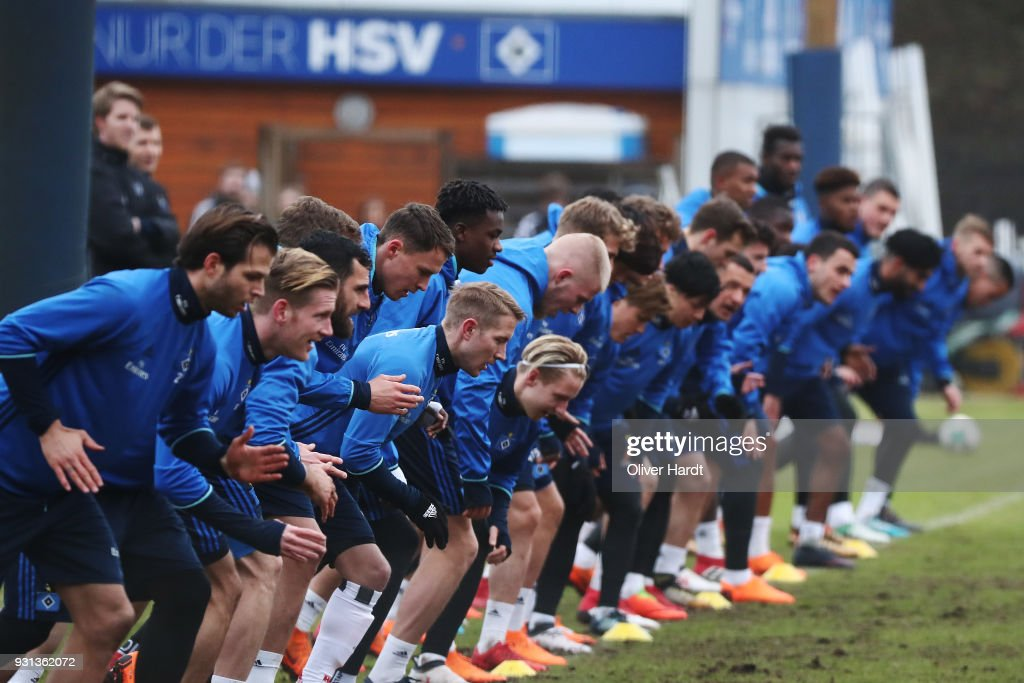Team of Hamburg in action during the training session at Volksparkstadion on March 13, 2018 in Hamburg, Germany.