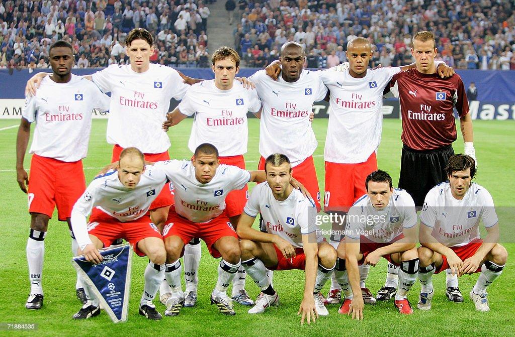 Hamburger SV: Team Of Hamburg Lines Up Before The UEFA Champions League