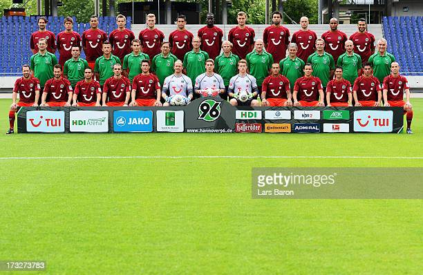 Team of Hannover 09 pose during the Hannover 96 team presentation at HDI Arena on July 11 2013 in Hanover Germany