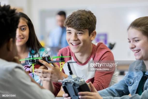team of high school students build drone - organised group stock pictures, royalty-free photos & images