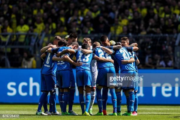 Team of Hoffenheim stands in a circle prior the Bundesliga match between Borussia Dortmund and TSG 1899 Hoffenheim at Signal Iduna Park on May 6 2017...
