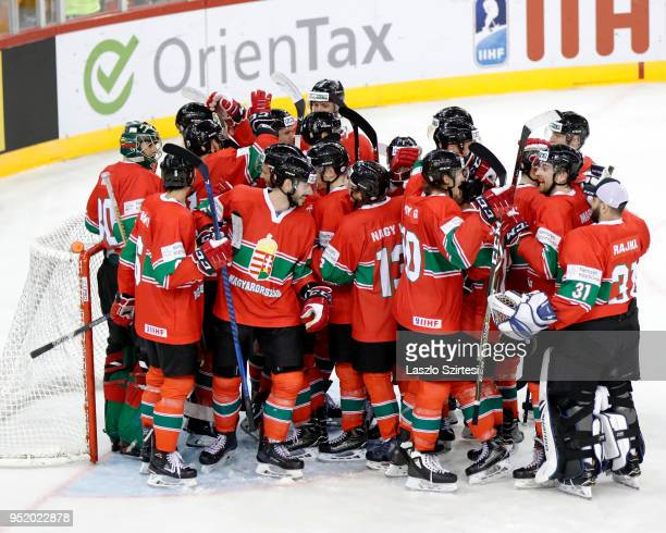 Team of Hungary celebrates the victory over Poland during the 2018 IIHF Ice Hockey World Championship Division I Group A match between Poland and...