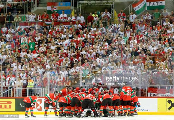 Team of Hungary prepares for the game in front of their supporters prior to the 2018 IIHF Ice Hockey World Championship Division I Group A match...