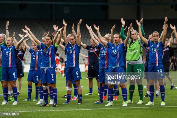 Team of Iceland celebrates with the fans after the UEFA Women's Euro 2017 Group C match between Iceland and Switzerland at Stadion De Vijverberg on...