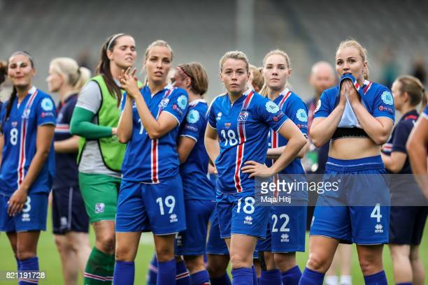 Team of Iceland react after the UEFA Women's Euro 2017 Group C match between Iceland and Switzerland at Stadion De Vijverberg on July 22 2017 in...
