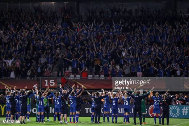 Team of Iceland with the fans after the Group C match between Iceland and Austria during the UEFA Women's Euro 2017 at Sparta Stadion on July 26 2017...