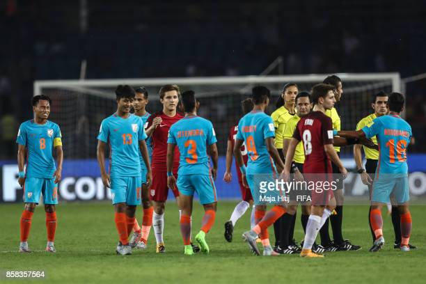 Team of India and USA after the FIFA U17 World Cup India 2017 group A match between India and USA at Jawaharlal Nehru Stadium on October 6 2017 in...