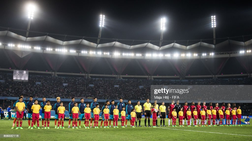 Team of India and USA line up prior the FIFA U-17 World Cup India 2017 group A match between India and USA at Jawaharlal Nehru Stadium on October 6, 2017 in New Delhi, India.