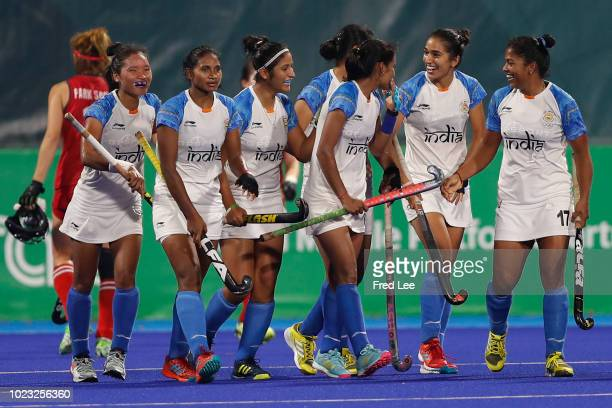 Team of India celebrate after a goal during the women's hockey pool B match between Korea and India on day seven of the Asian Games on August 25 2018...