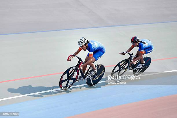Team of India competes in Cycling Track Women's Team Sprint Qualifying during the 2014 Asian Games at Incheon International Velodrome on September 20...