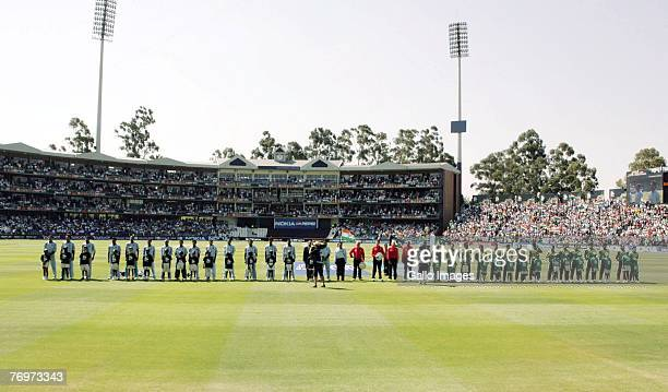 Team of India line up next to Team of Pakistan prior to the final match of the ICC Twenty20 World Cup between Pakistan and India held at the...