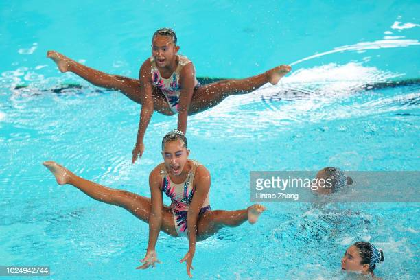 Team of Indonesia compete during Artistic Swimming Women's Teams Technical Routine at GBK Aquatic Center on day eleven of the Asian Games on August...