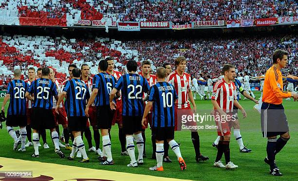 Team of Inter Milan and team of FC Bayern Muenchen before the UEFA Champions League Final match between FC Bayern Muenchen and Inter Milan at...