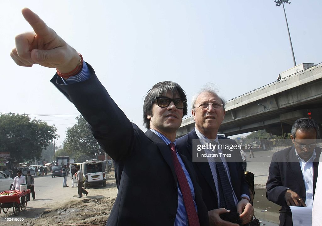 A team of Italian and Indian engineers and architects surveying IFFCO chowk, Signature tower for traffic solution on February 22, 2013 in Gurgaon, India.