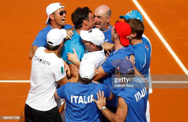 Team of Italy celebrate after winning the fourth point match between Argentina and Italy as part of day 3 of the Davis Cup at Patinodromo Stadium on...