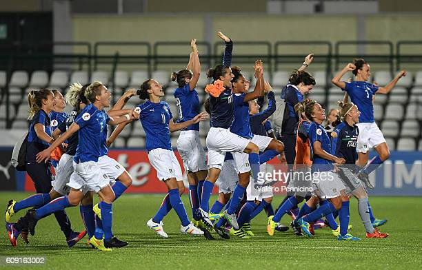 Team of Italy celebrate victory at the end of the UEFA Women's Euro 2017 Qualifier Group 6 match between Italy and Czech Republic at Stadio Silvio...