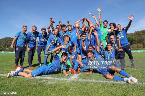 Team of Italy celebrate winning of the Four Nations Tournament after the Four Nations Tournament game between Germany U17 and Italy U17 at...