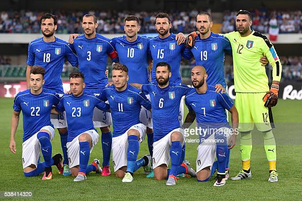 Team of Italy line up during the international friendly match between Italy and Finland on June 6 2016 in Verona Italy