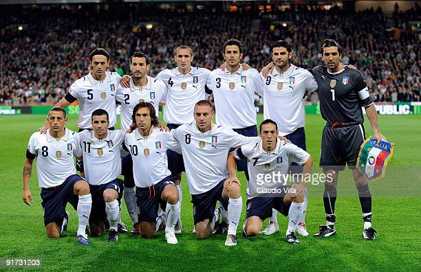 Team of Italy pose for a photograph during the FIFA 2010 World Cup Group 4 Qualifying match between Republic of Ireland and Italy at Croke Park...