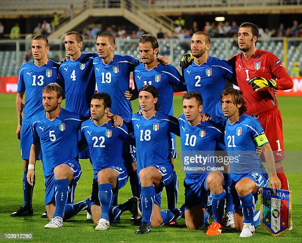 Team of Italy pose for photos during the Euro 2012 qualifying match between Italy and Faroe Islands at Stadio Artemio Franchi on September 7 2010 in...