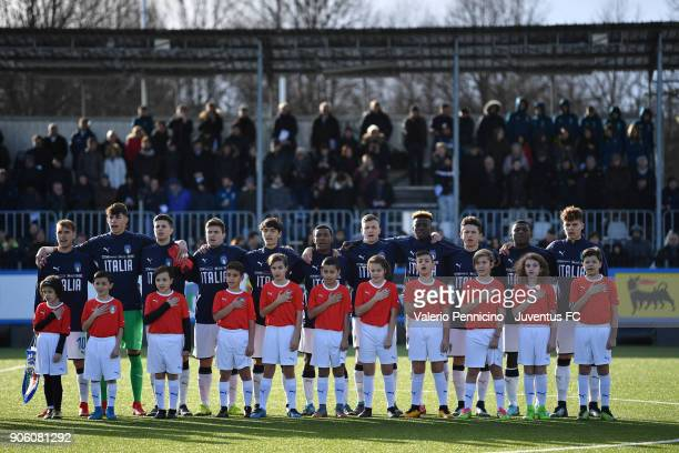 Team of Italy U17 line up during the U17 International Friendly match between Italy and Spain at Juventus Center Vinovo on January 17 2018 in Vinovo...