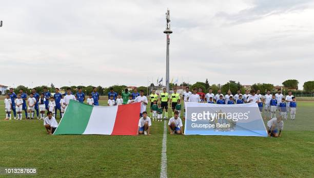 Team of Italy U20 and Team of San Marino U20 prior to the International Friendly match between Italy U20 and San Marino U20 on August 8 2018 in...