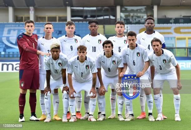 Team of Italy U20 prior the Friendly Match between San Marino U20 and Italy U20 at San Marino Stadium on June 5, 2021 in San Marino, Italy.