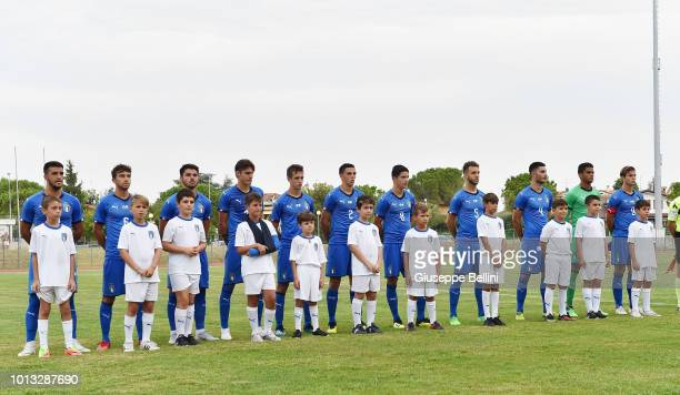 Team of Italy U20 prior to the International Friendly match between Italy U20 and San Marino U20 on August 8 2018 in Misano Adriatico Italy