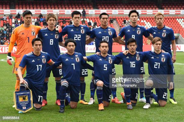 Team of Japan before the whistle during the international friendly match between Japan and Ukraine at Stade Maurice Dufrasne on March 27 2018 in...